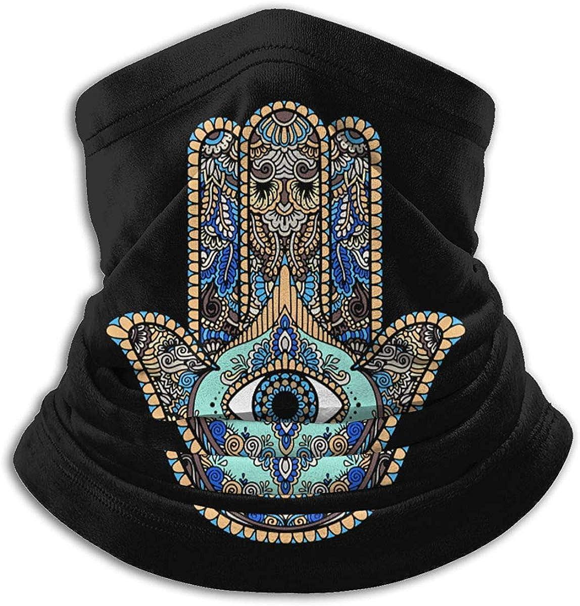 Hand of Fatima Microfiber Neck Warmer Balaclavas Soft Fleece Headwear Face Scarf Mask for Winter