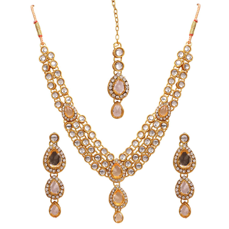 Aradhya Big Girls Designer Pink Stone And Embedded American Diamond Pendant Set With Earrings