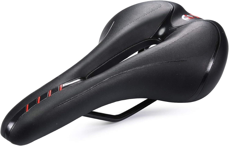 Asvert Sillín MTB Bicicleta Antiprostático de Ciclismo Transpirable y Ancho con Muelles y Raya Refleja Asiento para Bici MTB Carretera Montaña Urbana al Aire Libre (Rojo)