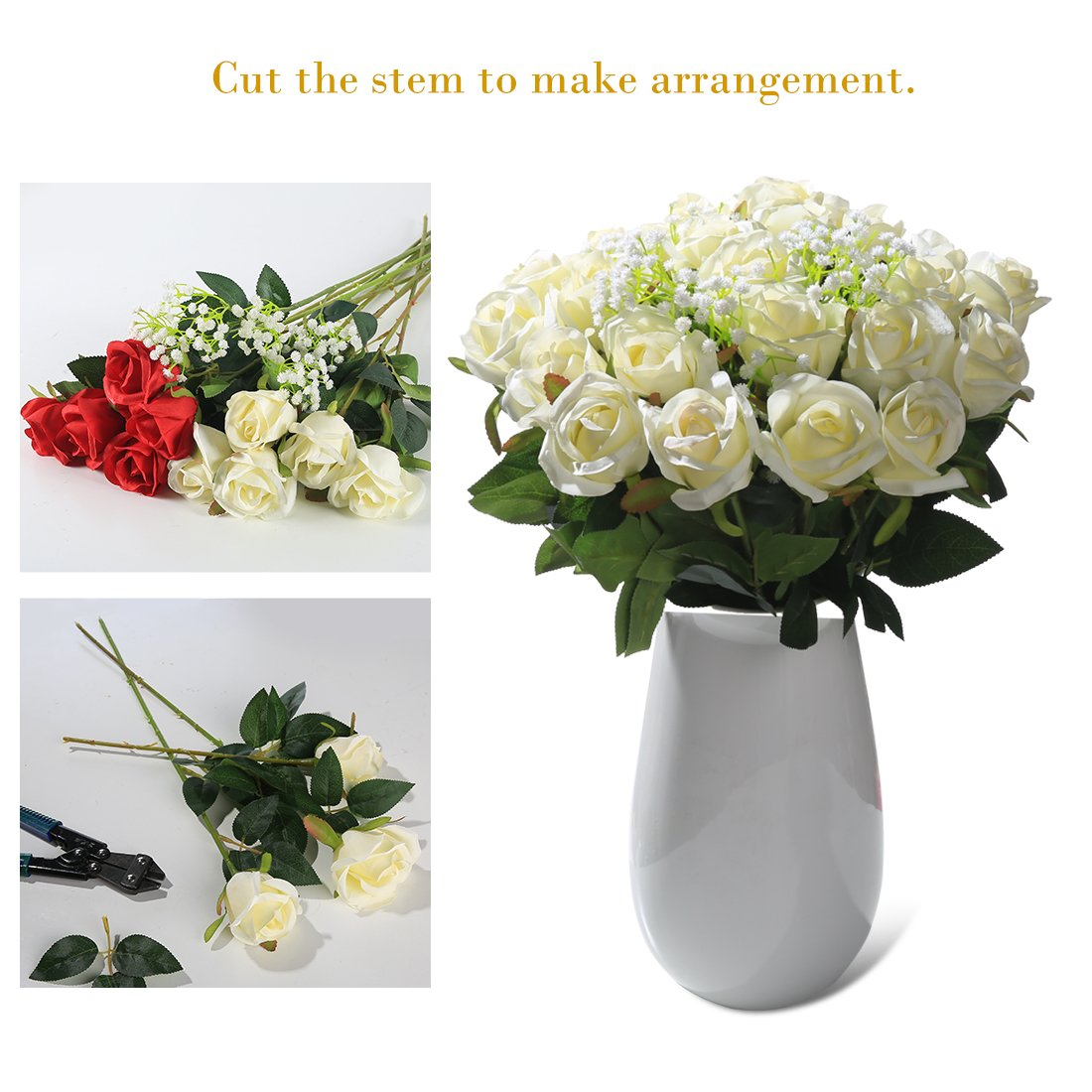 Veryhome Artificial Flowers Silk Roses Fake Bridal Wedding Bouquet for Home Garden Party Floral Decor 10 Pcs (White Straight stem)