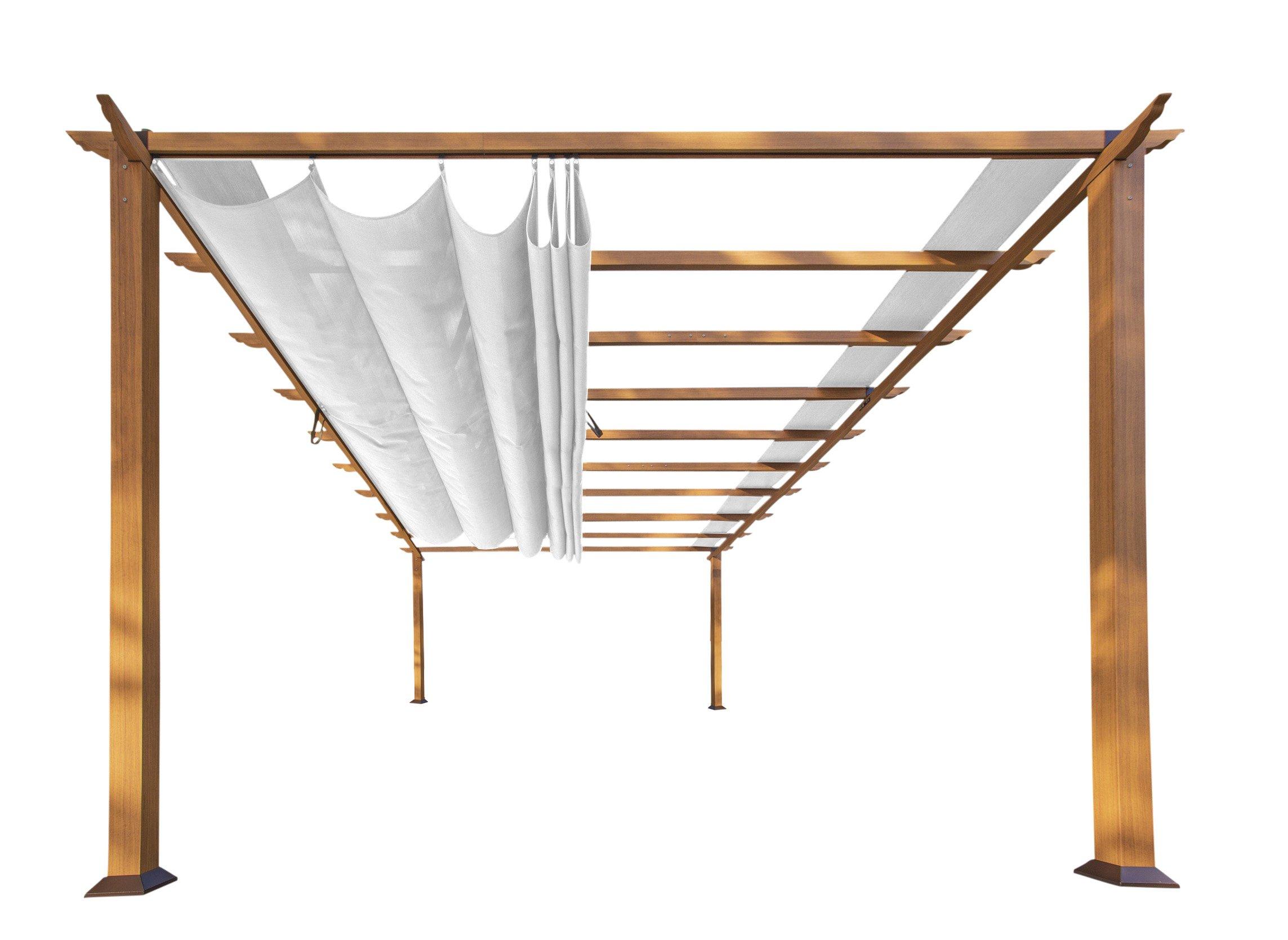Paragon Outdoor PR16WD1W 11 x 16 ft. Verona Aluminum Pergola (Canadian Wood/Off White Canopy)