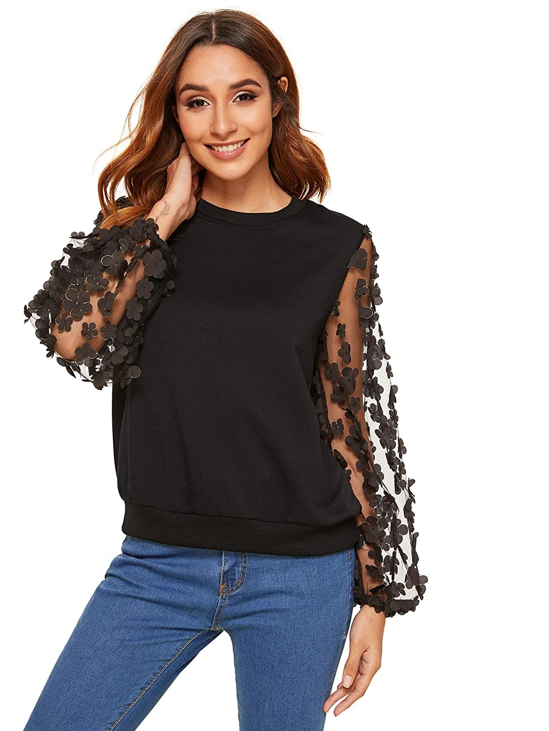 Black2 WDIRARA Women's Flower Embroidery Mesh Sleeve Top Blouse