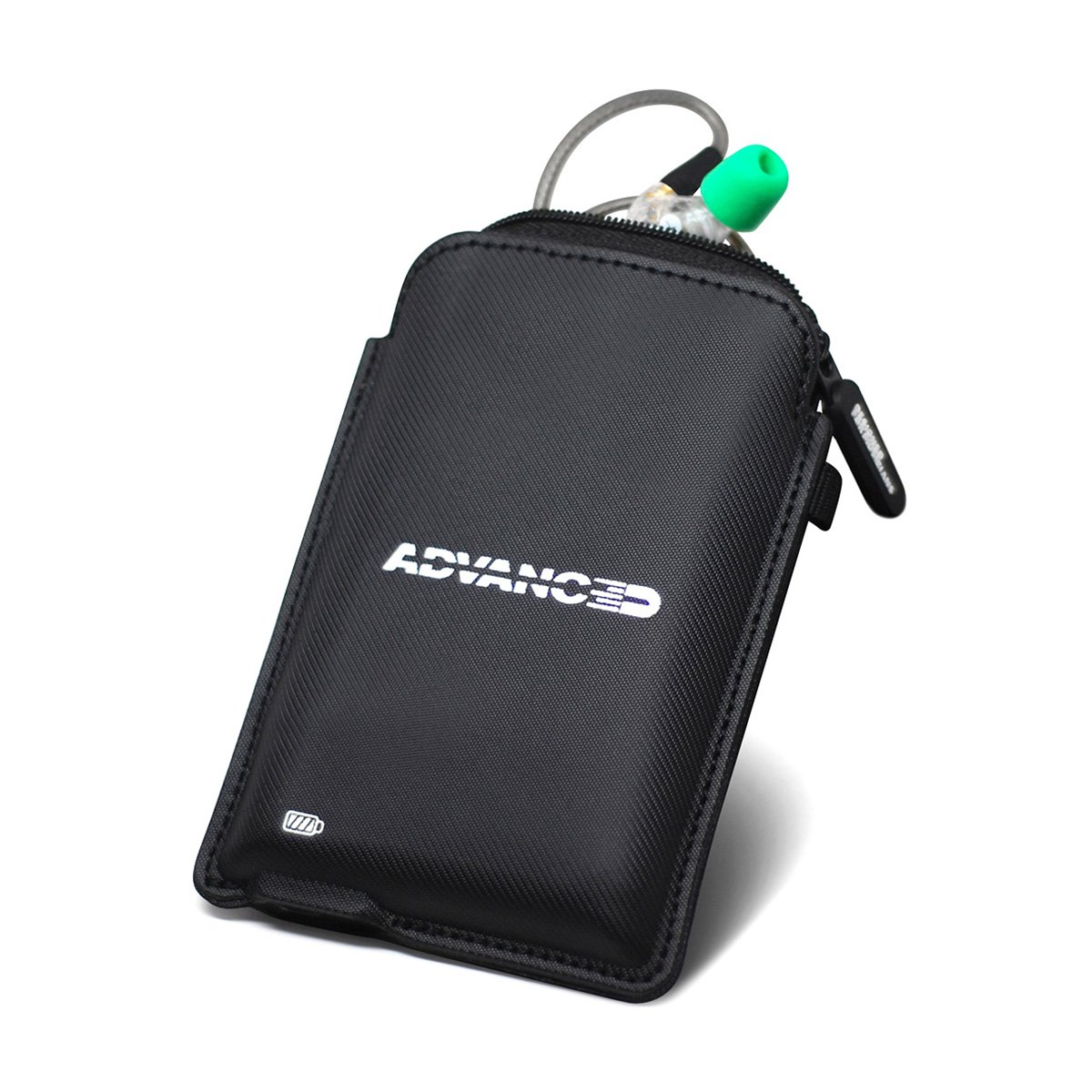 ADVANCED Power Pouch Carrying Case for BT Earphones 800mAh Power Bank MicroUSB Charger for Wireless Earbuds Ideal for Travel Advanced Sound ADVPWRP-BLK