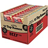 Nissin Top Ramen Beef Flavor Ramen Noodle Soup 3 Oz (Pack of 48)