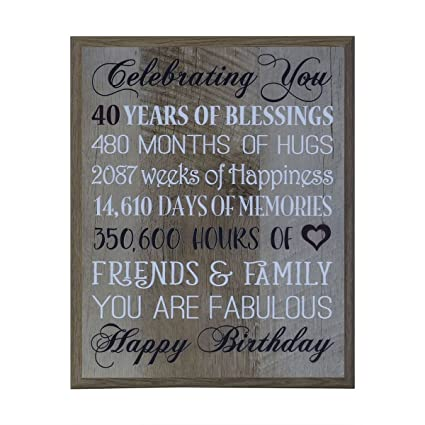 LifeSong Milestones 40th Birthday Gifts For Women Men Wife Happy Gift Ideas Husband