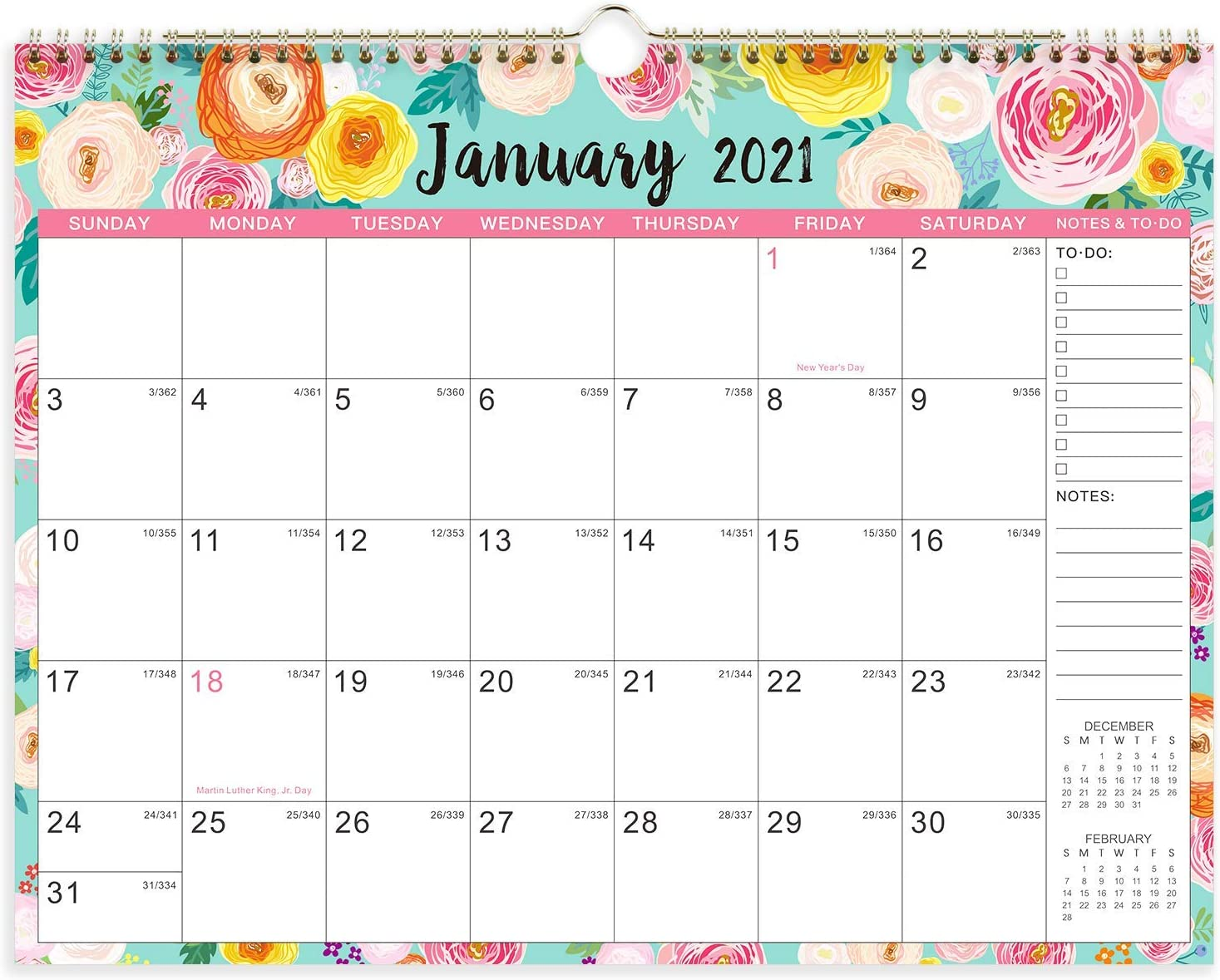 """2021 Calendar - Wall Calendar 2021 with Foral Monthly Page, Jan 2021 - Dec 2021, 15"""" x 11.5"""", Twin-Wire Binding & Large Blocks, Perfect for School, Office & Home Planning"""