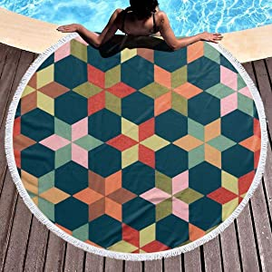 chenguang4422 Geometriske Figurer Printed Round Beach Towel Yoga Picnic Mat Round Tablecloth Ultra Soft Super Water Absorbent Terry Towel with Tassels