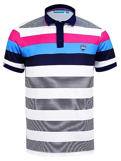 cd88ff8e0 Bunker Mentality Mens Stripe Golf Polo Shirt - White Stripe Design, Short  Sleeve, Sports Polo T Shirt, Moisture Wicking, SPF 50+: Amazon.co.uk:  Clothing