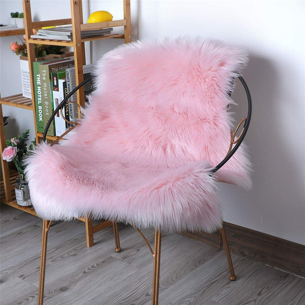 HLZHOU Pink Faux Fur Rug Soft Fluffy Chair Cover Seat Pad Area Rugs for Bedroom Living Room Nursery (2 x 3 Feet (60 x 90 cm) Pink)