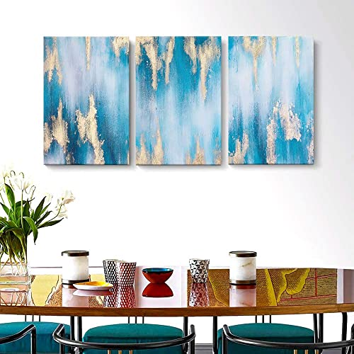 SDYA Large Blue Abstract Wall Art Hand Painted Gold-Lined Oil Painting on Canvas Framed and Stretched 3 Panels 16 W x24 H x3pcs Wall Art for Living Room Bedroom.