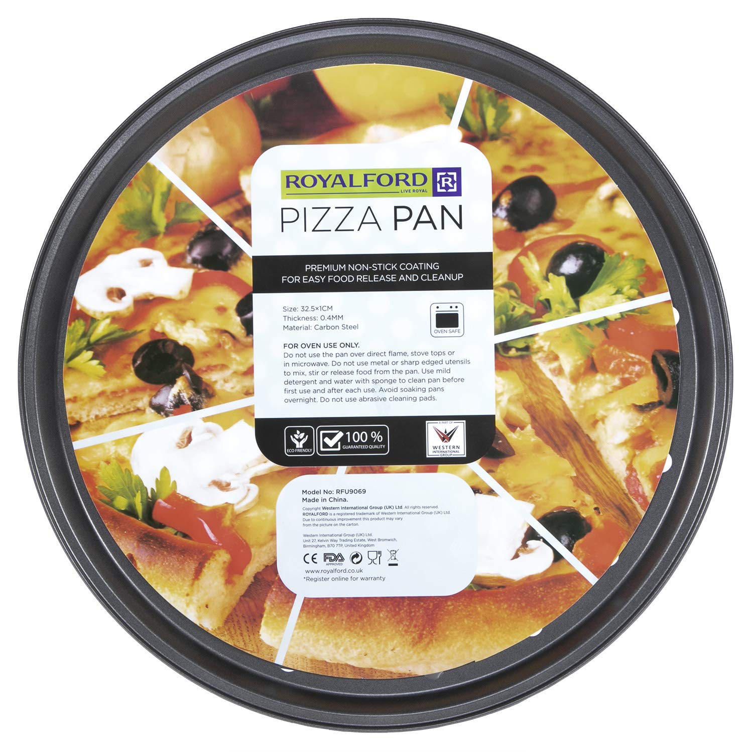 Royalford Pizza Pan Carbon Steel Aerated Holes Oven Safe Premium Non Stick Coating 04mm Thick Pfoa Ptfe Free