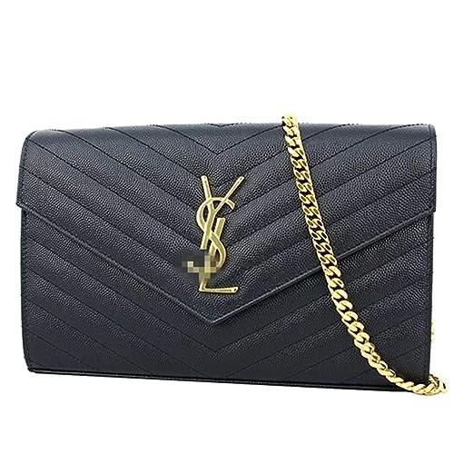 25dfac7b6f2 Lovely Saint Laurent Monogram YSL Small Chain Shoulder Bag Black 22.5x14x4cm