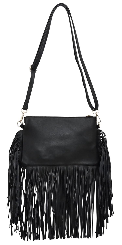 Angel Ranch Black Fringe Purse  Handbags  Amazon.com a8a71969dc8dd