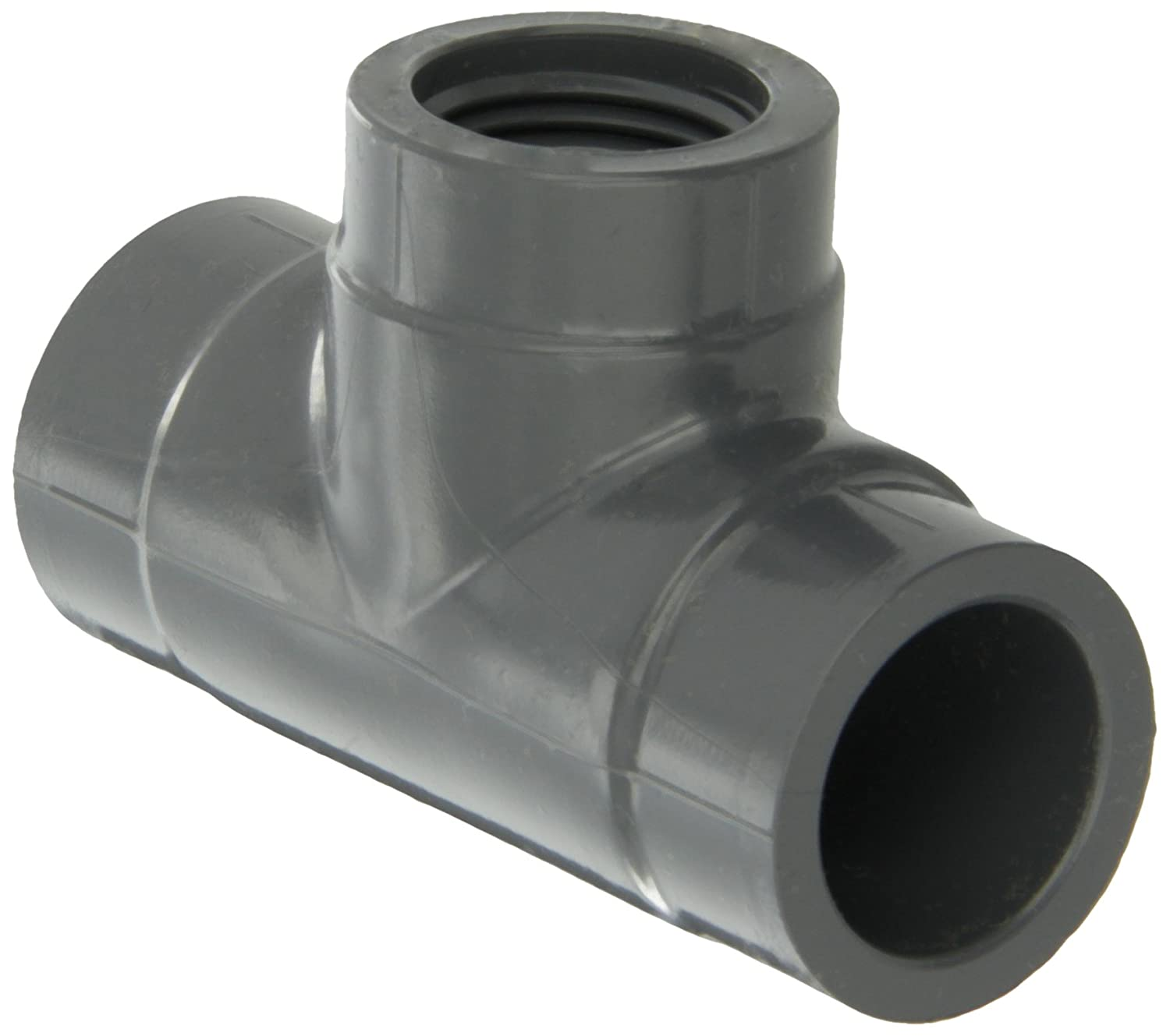 Schedule 80 Tee Gray 1//2 NPT Female x Socket x Socket 1//2 NPT Female x Socket x Socket GF Piping Systems PVC Pipe Fitting