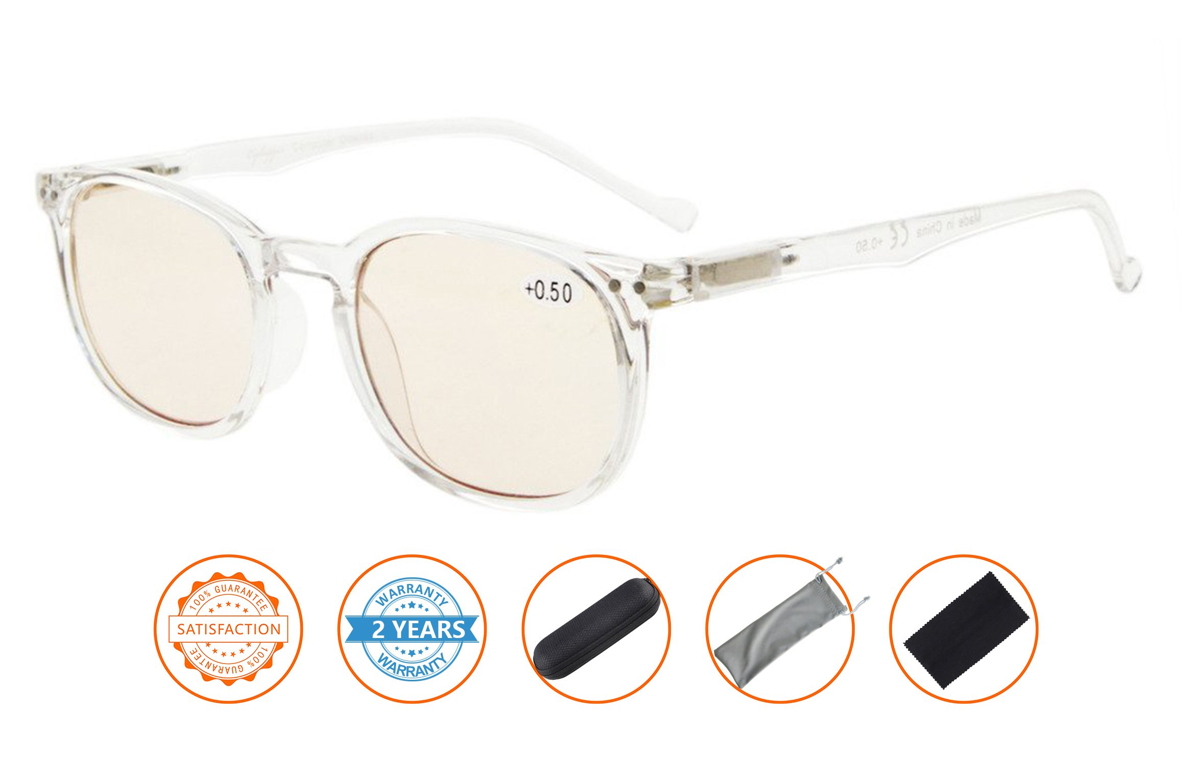 Reduce Eyestrain,Anti Blue Rays,UV Protection,Unisex Computer Reading Glasses(Clear,Amber Tinted Lenses) without Strength