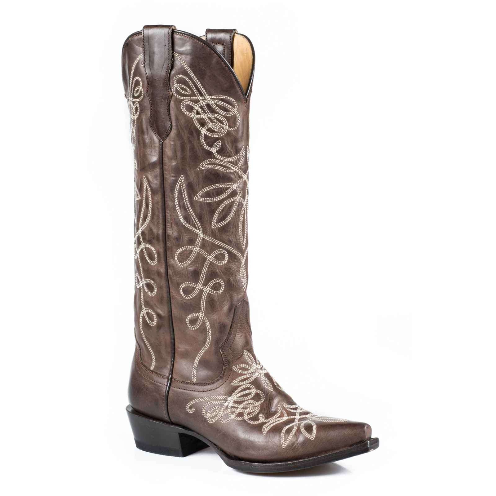 Stetson Women's Adeline Western Boot, Burnished Brown, 9.5 M US