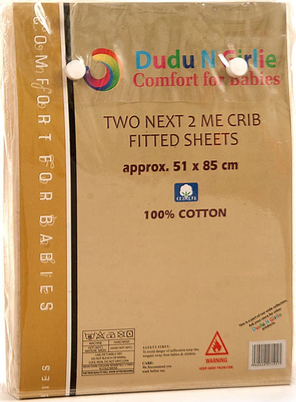 Pack of 2 Dudu N Girlie Next to Me Crib 100 Percent Cotton Fitted Sheet 51x85cm,Star Grey