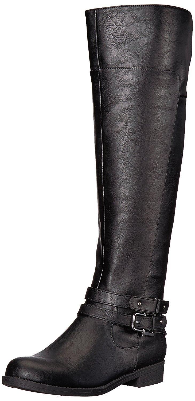 LifeStride Women's Delilah Equestrian Boot, Black, 10 M US