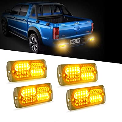 4pcs 20-LED Super Bright Emergency Warning Light, Ultra Slim Hazard Warning Light/Turning Light 12-24V for Truck Car Motorcycle (Amber): Automotive