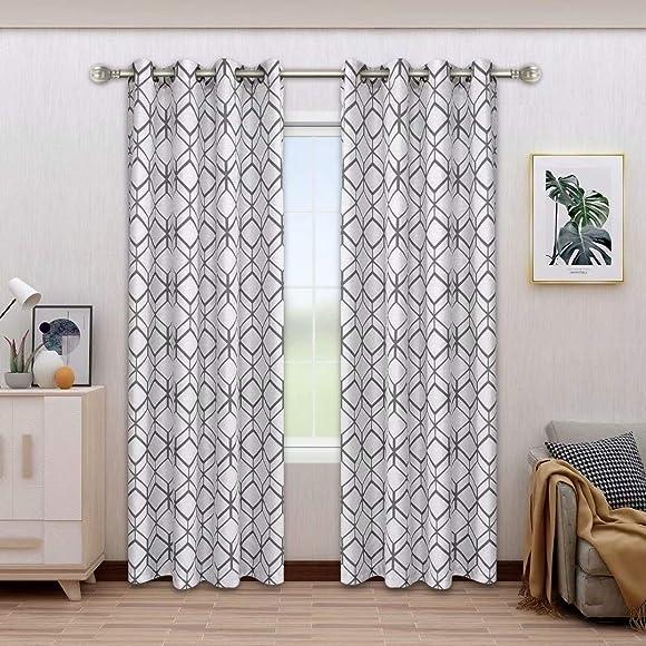 BONZER Linen Textured Diamond Print Curtains - the best window curtain panel for the money
