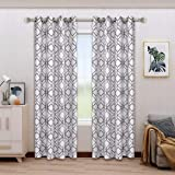 BONZER Linen Textured Diamond Print Curtains - Light Filtering Grommet Window Drapes for Bedroom, Living Room, 52 x 84…