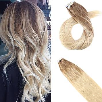 Moresoo 24zoll Tape In Two Colour 100 Remy Echthaar Extensions Ombre Braun 6 Zu Blond 60 Glatt Haarverlängerung Zum Kleben 50gramm20pcs