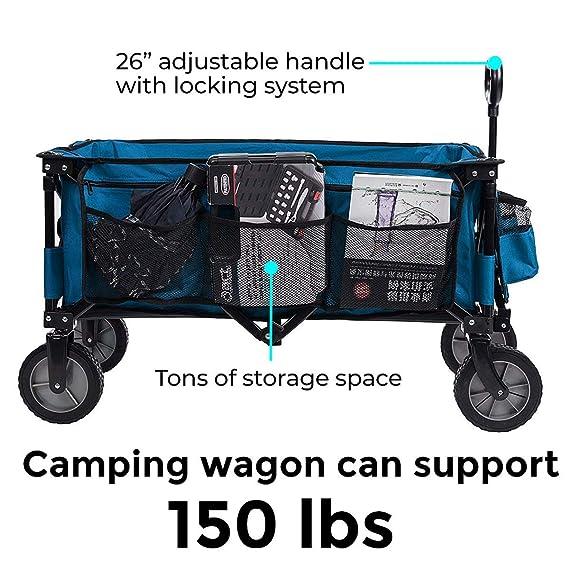TimberRidge Carrito plegable con ruedas, ideal para camping o jardín, funciona en todos los terrenos, color azul: Amazon.es: Jardín