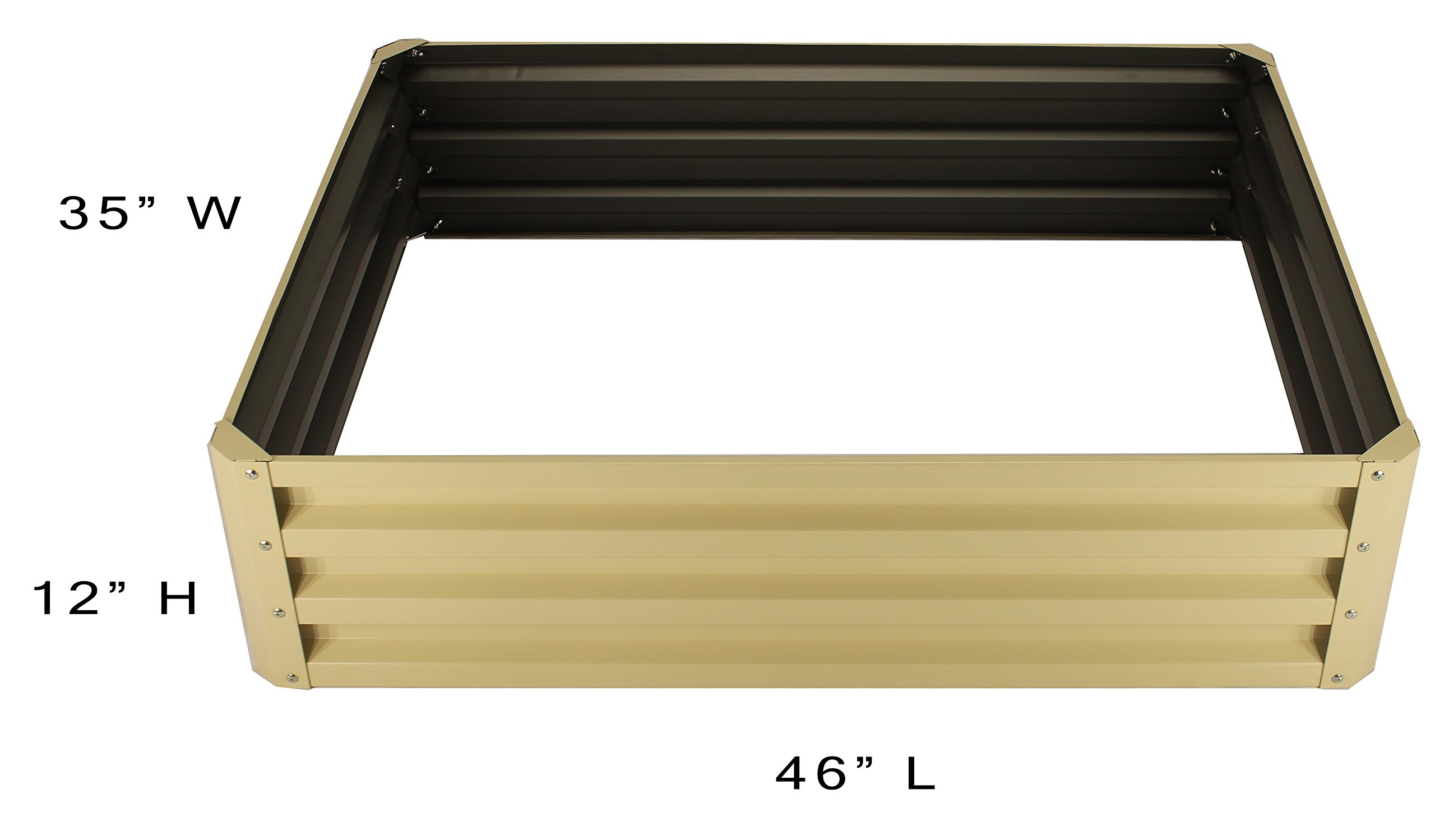 Metal Raised Garden Bed Kit - Elevated Planter Box For Growing Herbs, Vegetables, Flowers, and Succulents (1) 10 Beige Metal Raised Garden Bed Kit