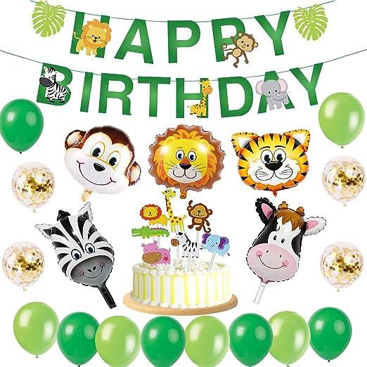 sancuanyi Selva Fiesta de cumpleaños Decoracion ,Globos de Latex y Safari Bosque Animal Globos para Niño Cumpleaños Baby Shower Decoración (49 Piezas)