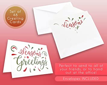 Amazon 48 pack of christmas winter holiday family greeting amazon 48 pack of christmas winter holiday family greeting cards seasons greetings red green design boxed with 48 count white envelopes m4hsunfo