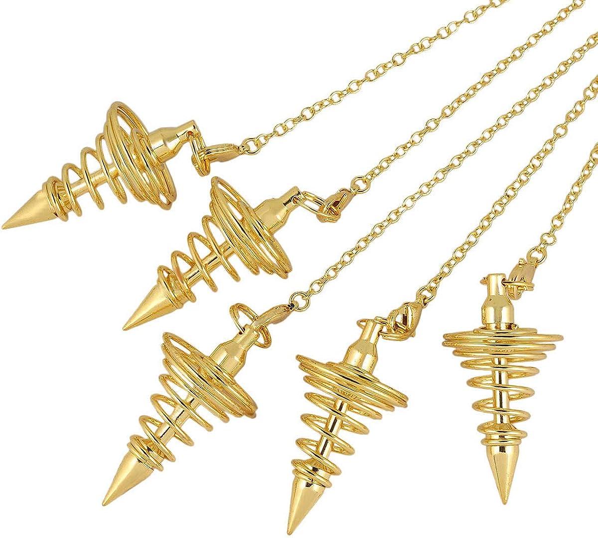 TUMBEELLUWA 2 Spiral Metal Pendant Pendulum for Divination Dowsing Healing Reiki Meditation Tool