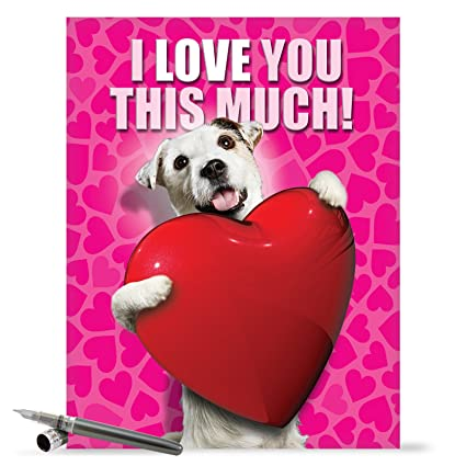 j1648vdg jumbo humor valentines day greeting card jumbo love you this much dog valentines day - Dog Valentines Day Cards