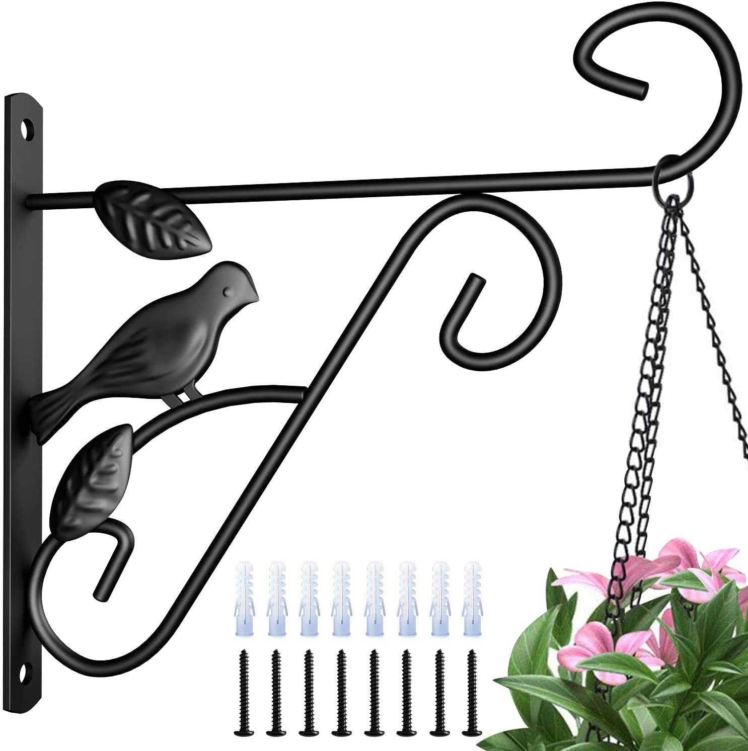 Amagabeli 4 Pack Hanging Plants Bracket 10'' Wall Planter Hooks Hangers Flower Pot Bird Feeder Wind Chimes Lanterns Patio Lawn Garden for Outdoor Indoor Wall Fence Screw Mount Against Door Arm Black