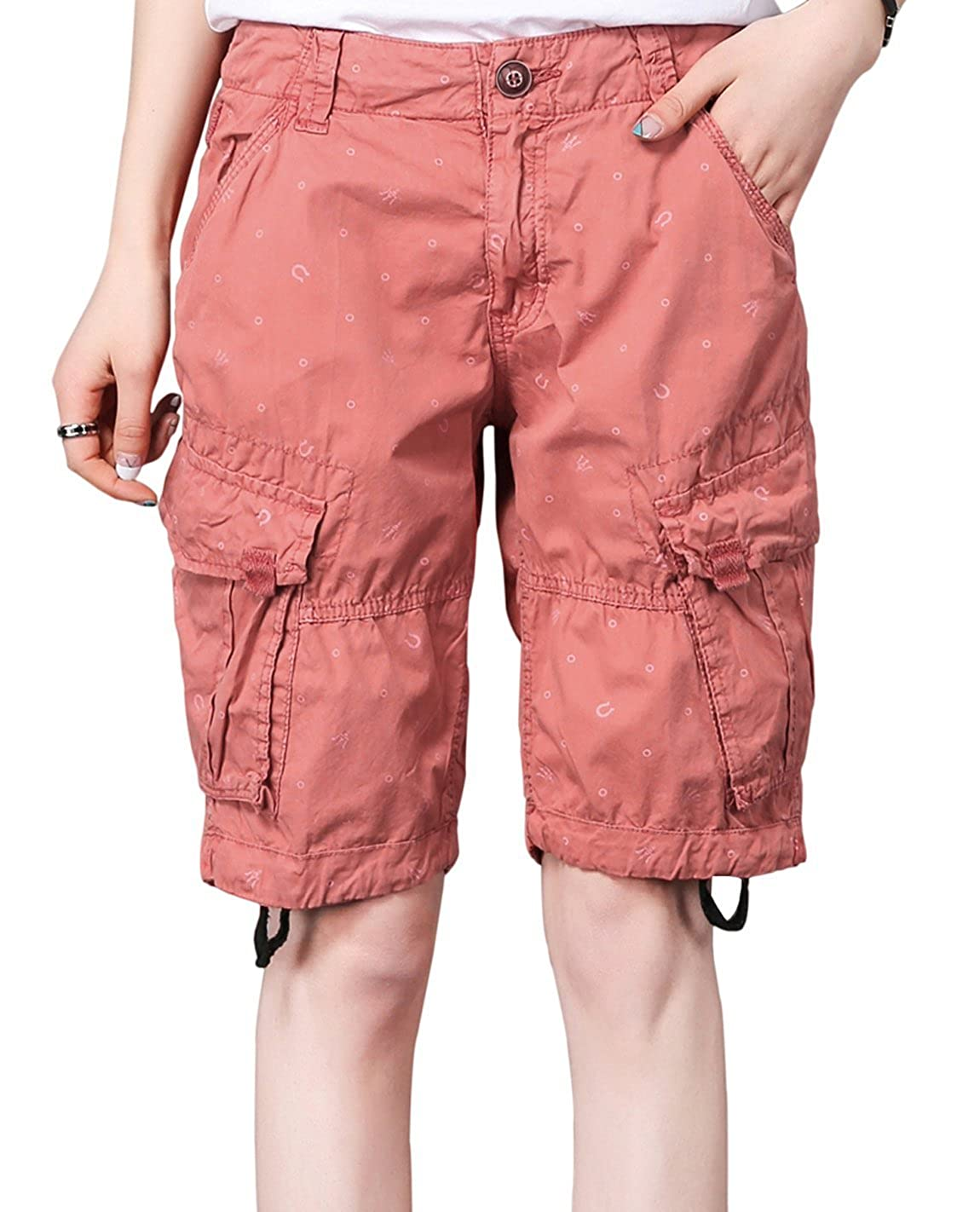 Women's Casual Summer Loose Fit Print Work Belt Baggy Cotton Cargo Bermuda Shorts with Pockets