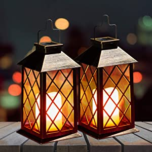 OxyLED Solar Lanterns, 2 Pack LED Solar Lights Outdoor, Hanging Lanterns Solar Powered with Handle, Waterproof Flickering Flameless Candle Mission Lights for Table Garden Patio Pathway Christmas