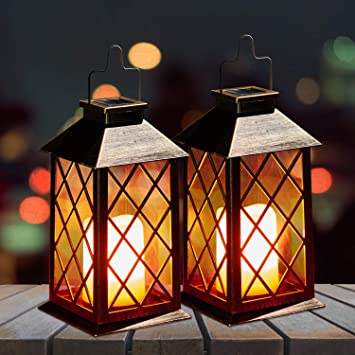 Amazon Com 2 Pack Solar Lanterns Oxyled Solar Lights Outdoor Led Hanging Lanterns Solar Powered With Handle Waterproof Flickering Flameless Candle Mission Lights For Table Garden Patio Pathway Christmas Home Improvement