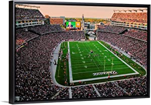 """Elevated View of Gillette Stadium, New England Patriots Black Floating Frame Canvas Art, 32"""" x22."""