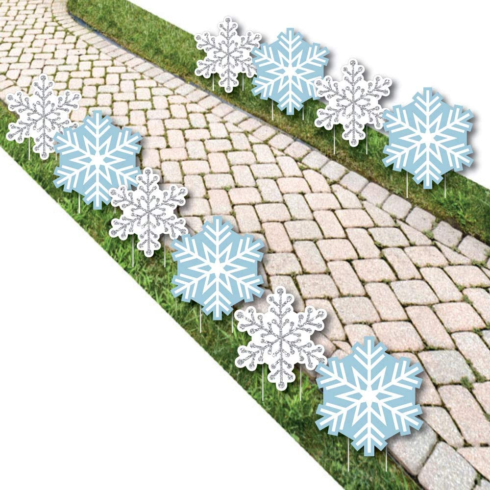 Big Dot of Happiness Winter Wonderland - Snowflake Lawn Decorations - Outdoor Snowflake Holiday Party and Winter Wedding Yard Decorations - 10 Piece