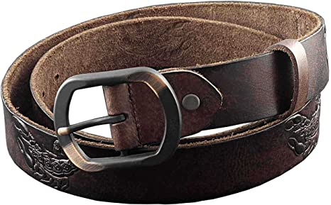 VINTAGE Scorpion Style Western Cowhide Leather Biker Belt Mens Jeans Belt Brown