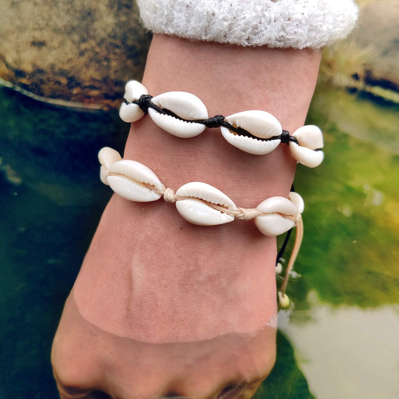 Filluck womens Cowrie Shell Anklet Bracelet Turquoises Shell Bracelet Handmade Adjustable Boho Beach Jewelry Set For