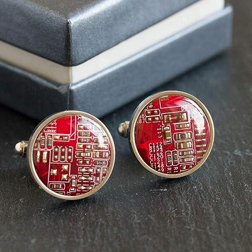 Red Circuit Board Cufflinks