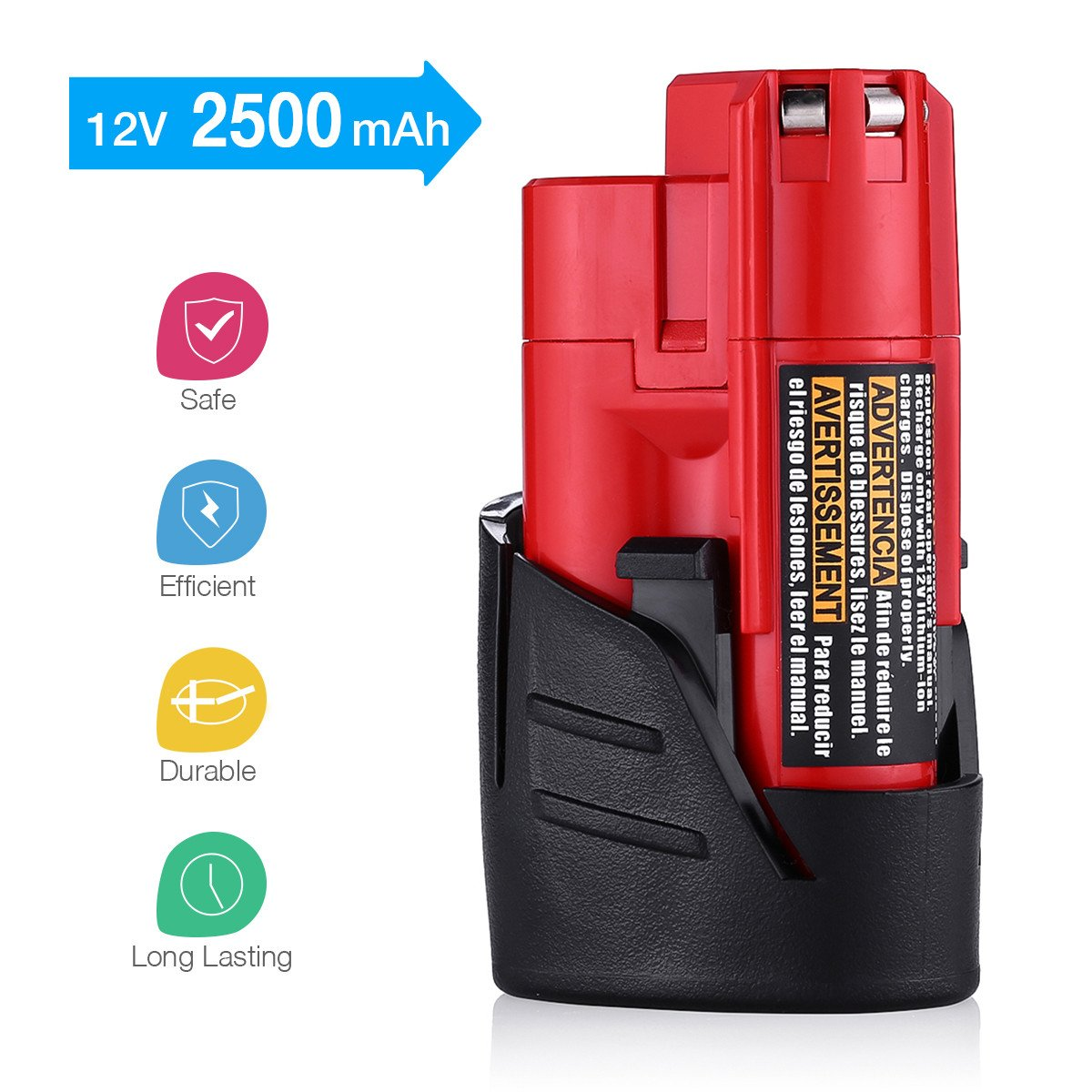 Powerextra 2 Pack 12V 2500mAh Lithium-ion Replacement Battery Compatible with Milwaukee M12 Milwaukee 48-11-2411 REDLITHIUM 12-Volt Cordless Milwaukee Tools Milwaukee 12V Battery Lithium-ion by Powerextra (Image #2)