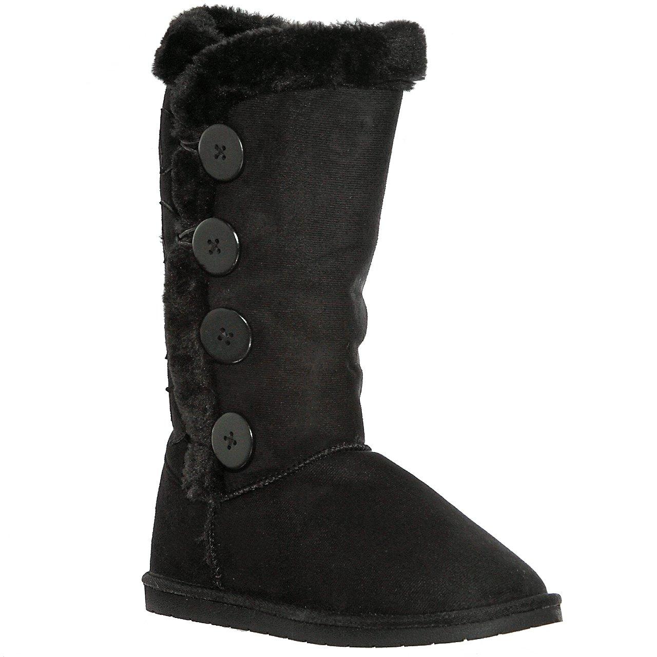 AMYshoes Tina/02 Plain Color Four Button Fur Lined Mid-Calf Snow Boots (7, Black)