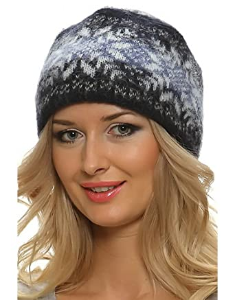 Amazon.com  Freyja Canada Winter Wool Hat Beanie Cap Fair Isle Authentic  Icelandic Wool for Women 2 Ply Knitted Extra Warm  Clothing 95bc5c688d