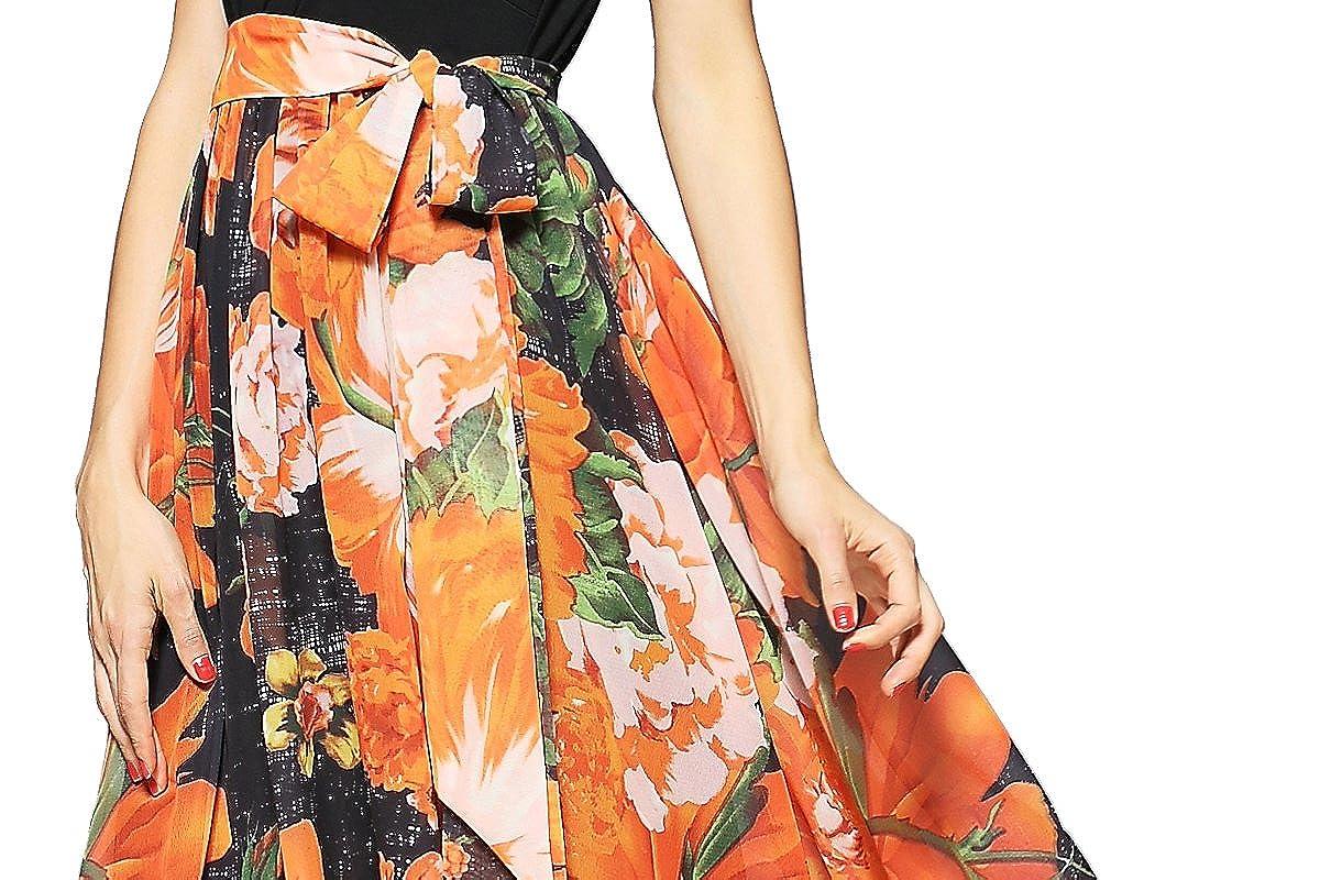 Joy Envyland Women V Neck Tunic Floral Chiffon Evening Party Maxi Lovly Sqaa Swing Dress At Amazon Womens Clothing Store