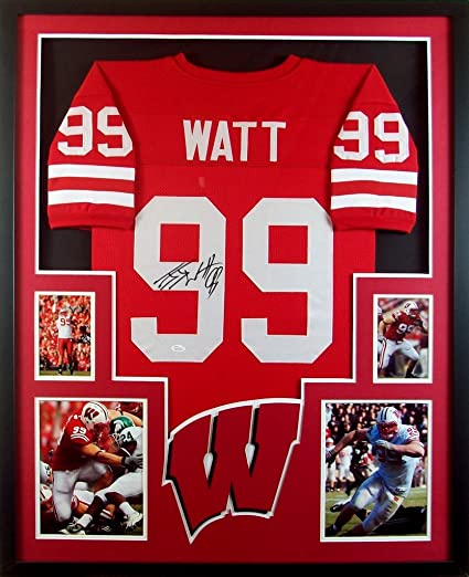 ab3d2e38334 ... ebay j.j. watt framed jersey signed jsa coa autographed jj wisconsin  badgers houston texans 90c00 7e4cd