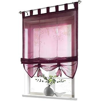 ESLIR Raffrollo mit Schlaufen Gardinen Küche Raffgardinen Transparent  Schlaufenrollo Vorhänge Modern Voile Beere BxH 120x155cm 1 Stück