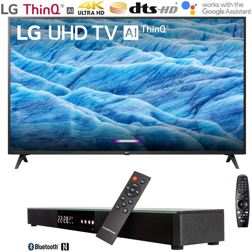 "LG 49UM7300PUA 49"" 4K HDR Smart LED IPS TV w/AI ThinQ (2019) + Soundbar Bundle Includes, Deco Gear Home Theater Surround Sound 31"" Soundbar and 6ft Optical Toslink 5.0mm OD Audio Cable"