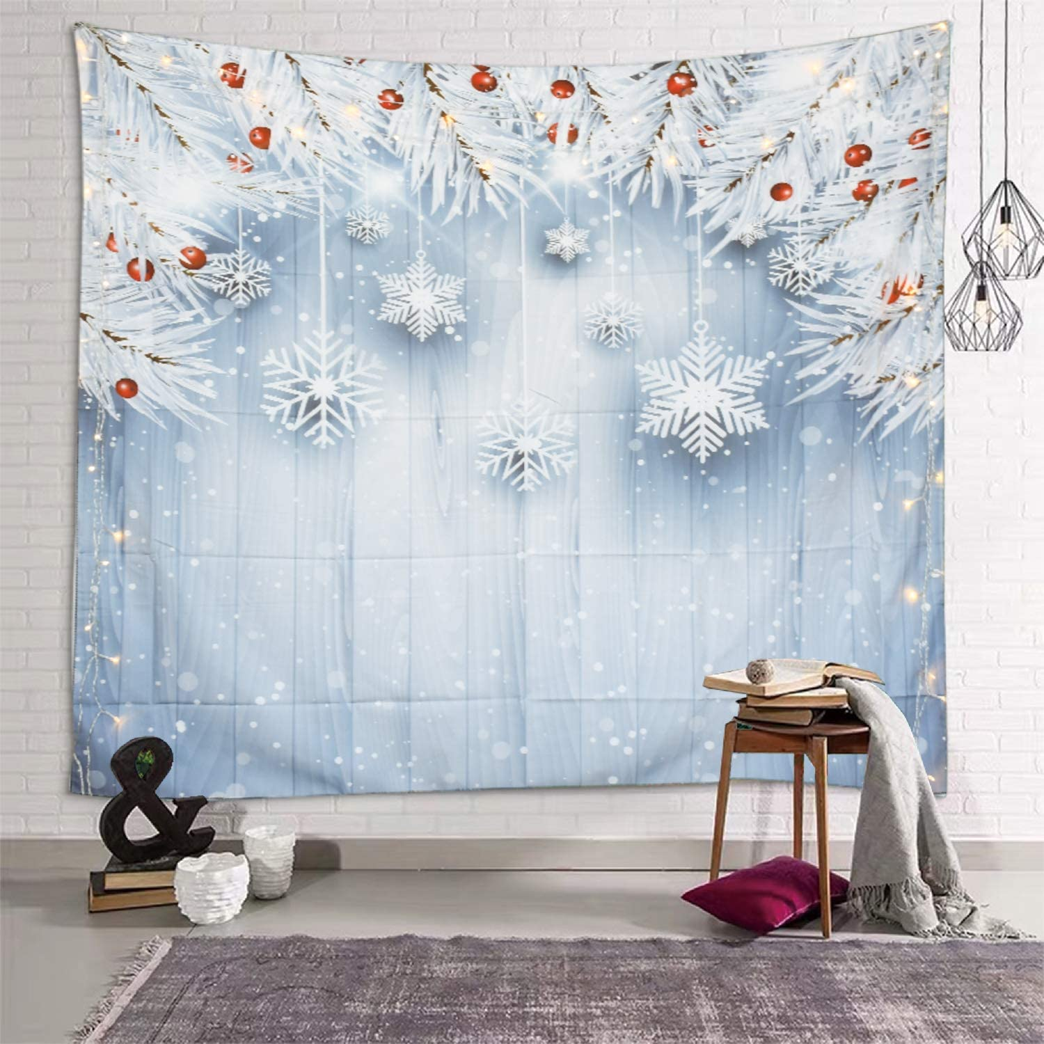 Sevendec Christmas Tapestry Wall Hanging Xmas White Snowflakes Leaves Board Wall Tapestry for Party Livingroom Bedroom Dorm Home Decor W59