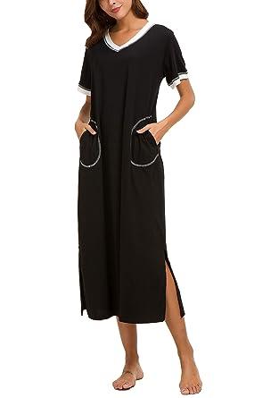 353ddc654e AVIIER Long Nightgown Womens Lounge Dresses with Pockets V Neck Short  Sleeve Maxi Nightshirt Sleepwear (